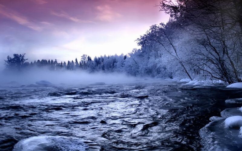 River Ice Trees Fog Current Hoarfrost Water Winter wallpaper