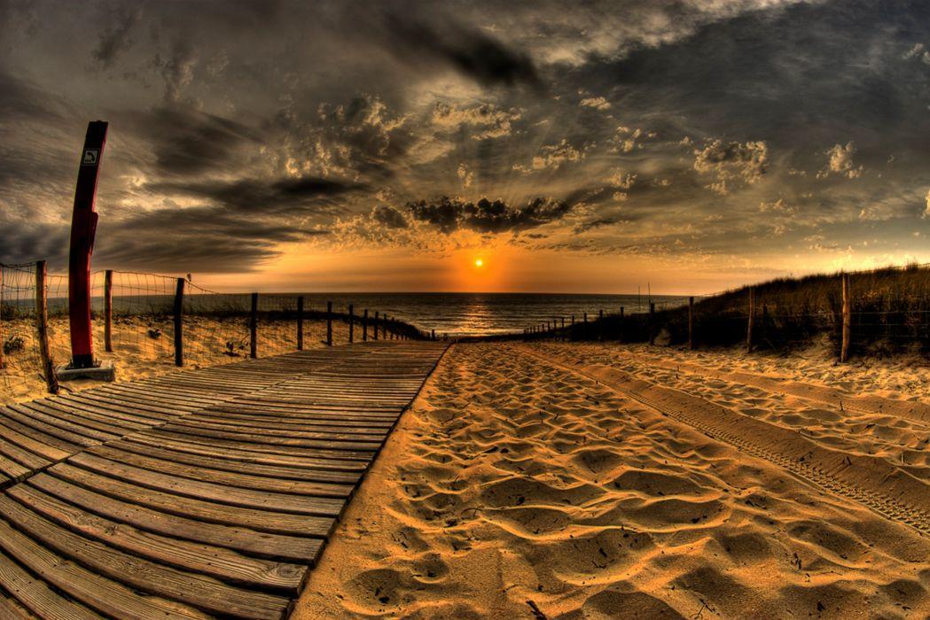 Beach Sand Road Traces Fence Sun Evening Sky Decline Clouds wallpaper