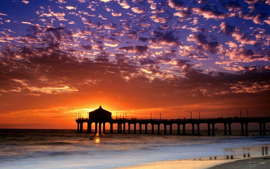 Evening Sea Pier Decline Sky Coast Sun Clouds California Beach wallpaper