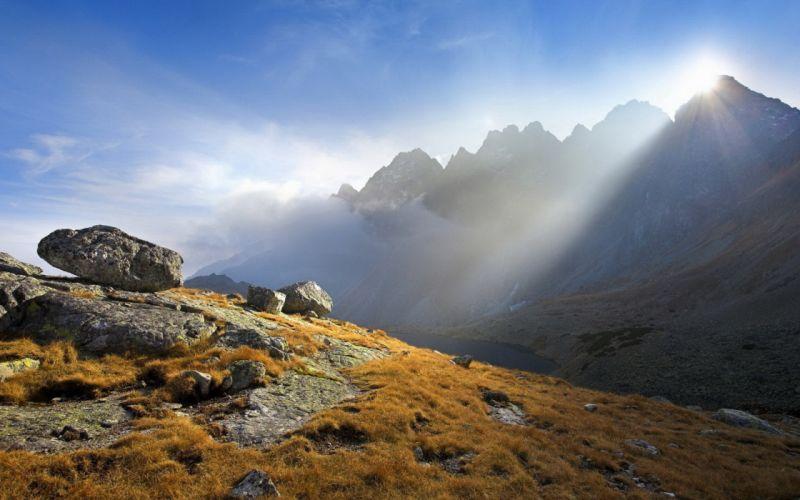Light Beams Sun Stones Porous Mountains Autumn wallpaper