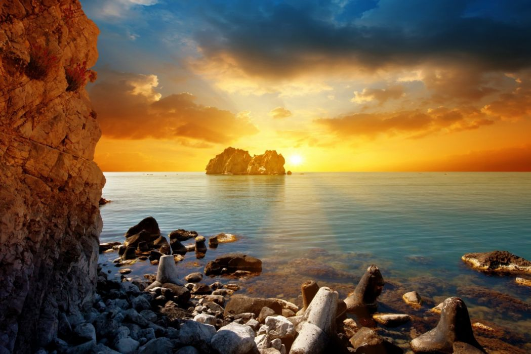 Decline Sun Evening Stones Rocks Beams wallpaper
