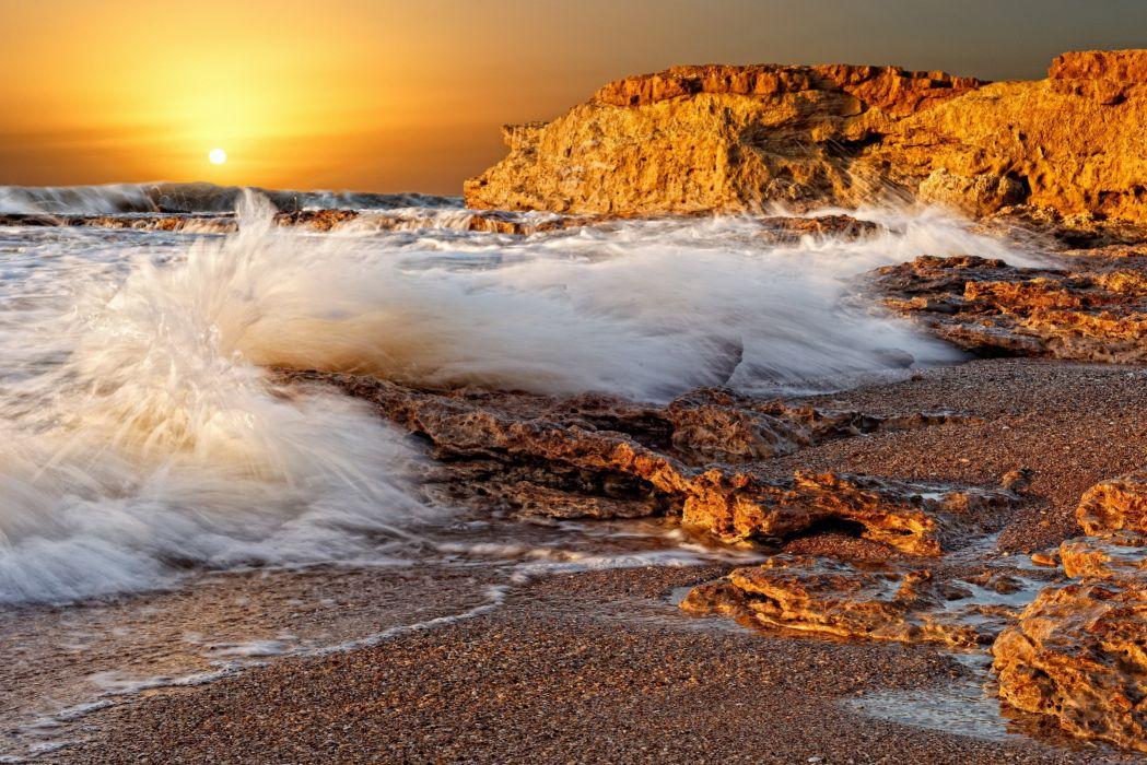 Splashes Wave Splash Stones Porous Sea Rocks Coast Decline Sun Disk Orange wallpaper