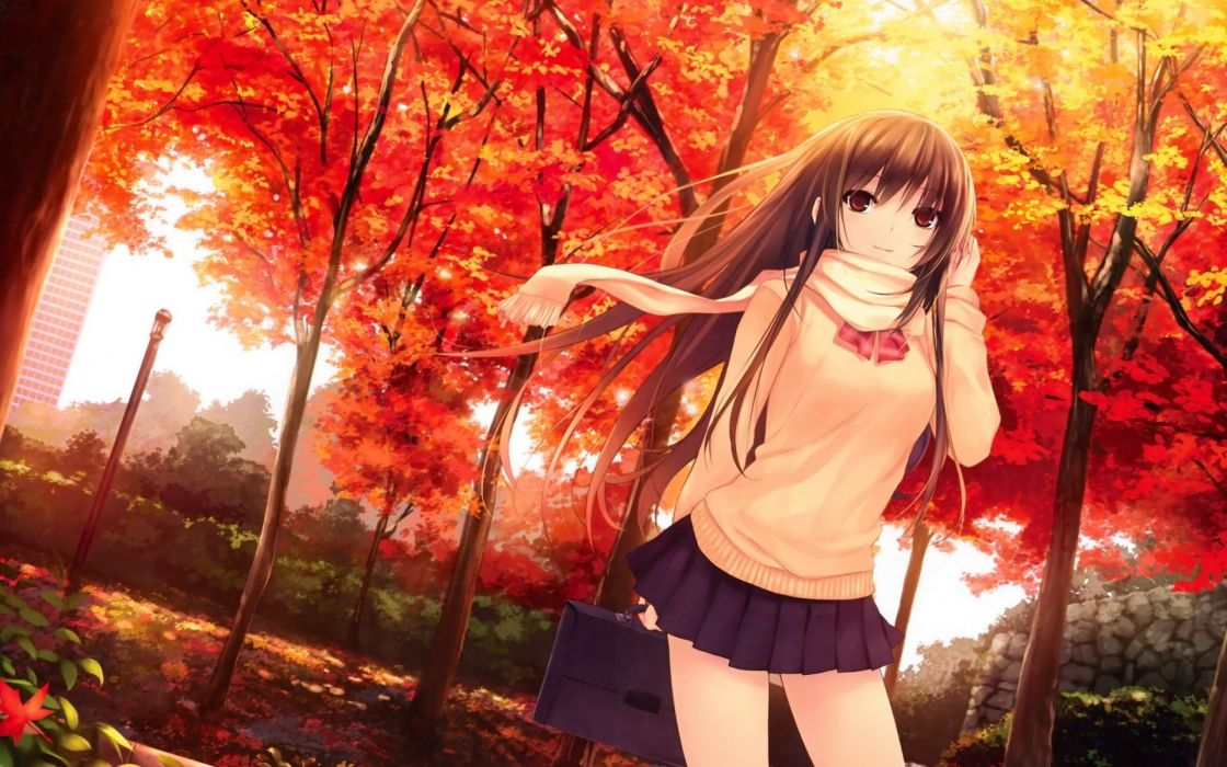 Girl Autumn Forest Brightness Portfolio wallpaper