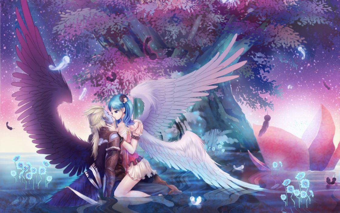 Guy Girl Wings Kiss anime couple wallpaper