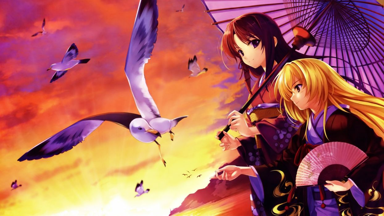 Girl Kimono Umbrella Gull Sunset anime wallpaper