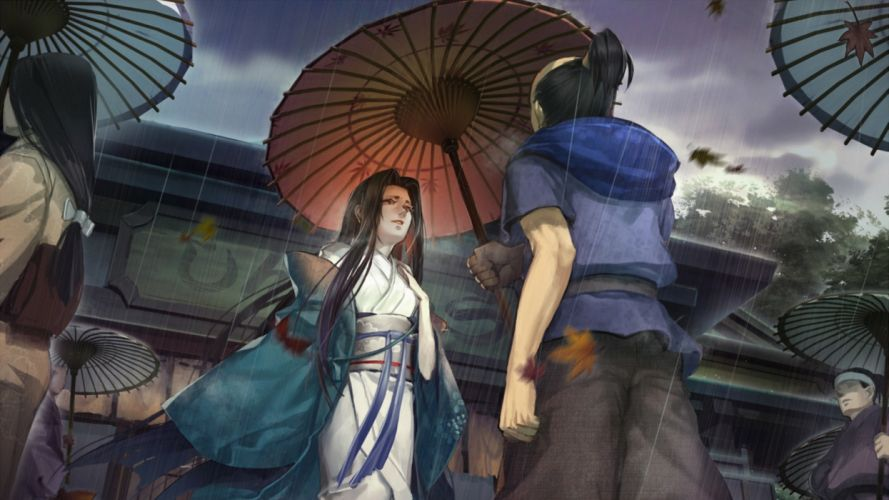 Liduke Girl Japan Art Rain Umbrella Kimono anime wallpaper