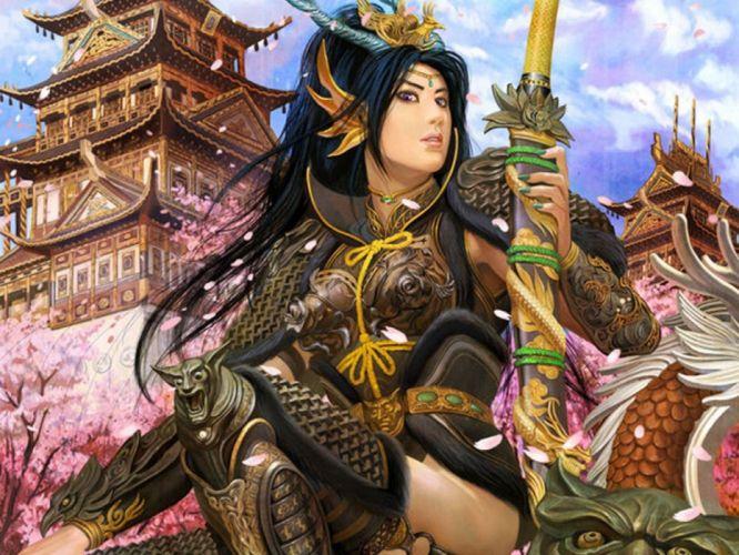 Girl Brunette Sword Costume Landscape fantasy wallpaper