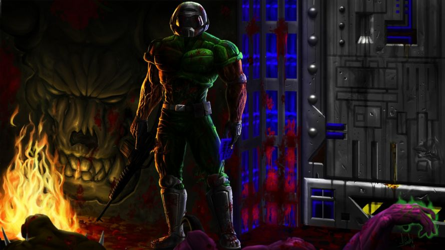 DOOM sci-fi fps shooter action fighting warrior series survival horror dark 1doom futuristic artwork evil wallpaper