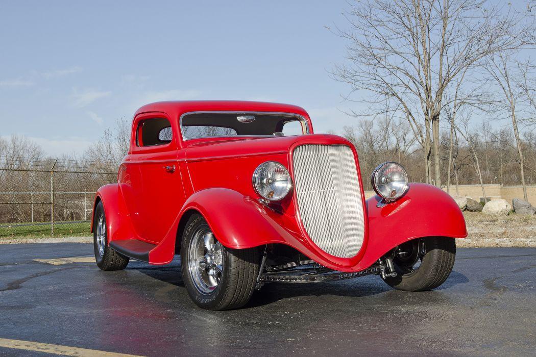 1933 Ford Coupe Three Window Hotrod Streetrod Hot Rod Street Red USA -05 wallpaper