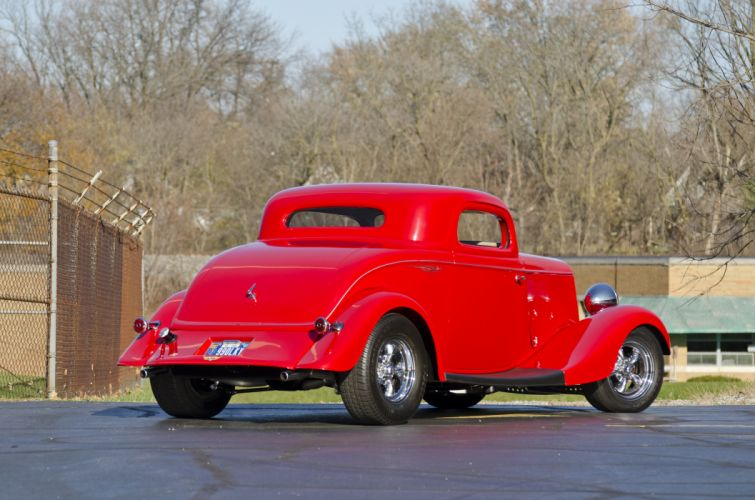 1933 Ford Coupe Three Window Hotrod Streetrod Hot Rod Street Red USA -04 wallpaper