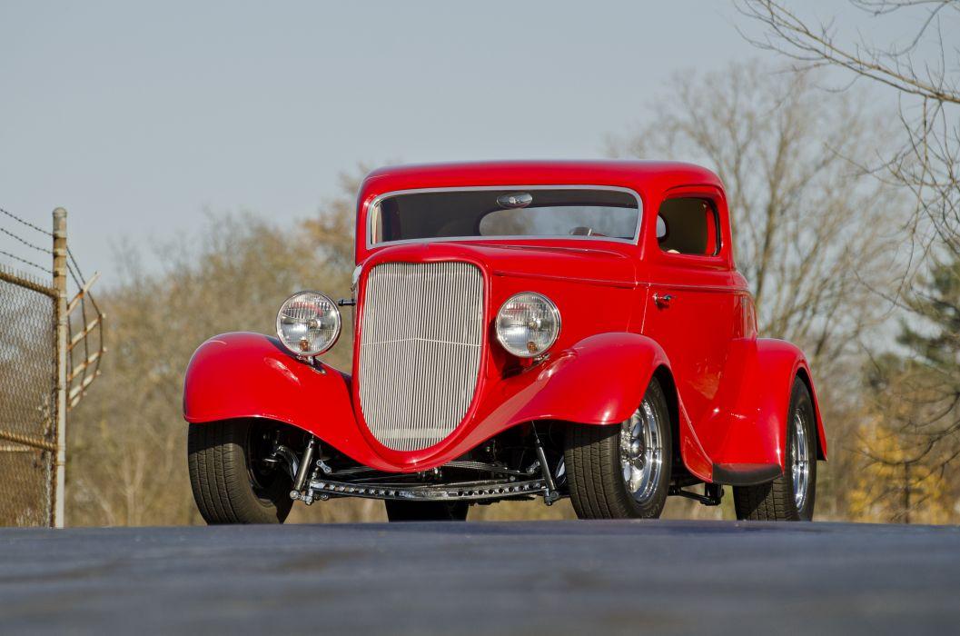 1933 Ford Coupe Three Window Hotrod Streetrod Hot Rod Street Red USA -02 wallpaper