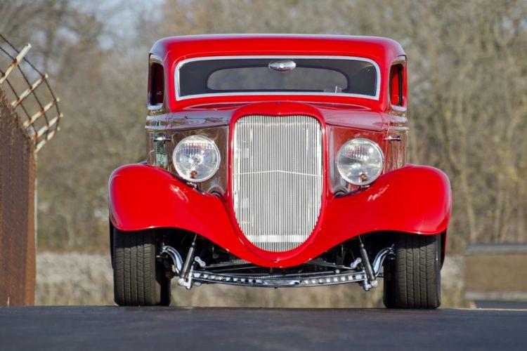 1933 Ford Coupe Three Window Hotrod Streetrod Hot Rod Street Red USA -01 wallpaper