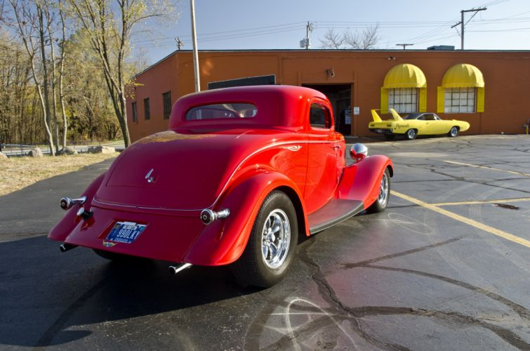 1933 Ford Coupe Three Window Hotrod Streetrod Hot Rod Street Red USA -03 wallpaper