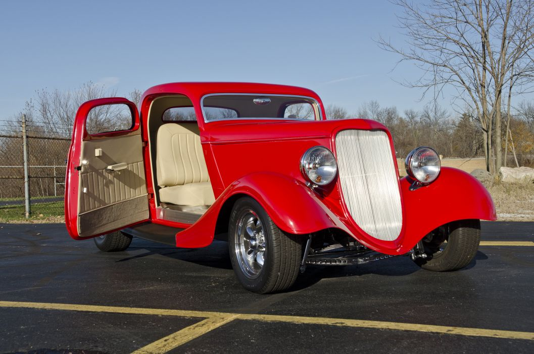 1933 Ford Coupe Three Window Hotrod Streetrod Hot Rod Street Red USA -06 wallpaper