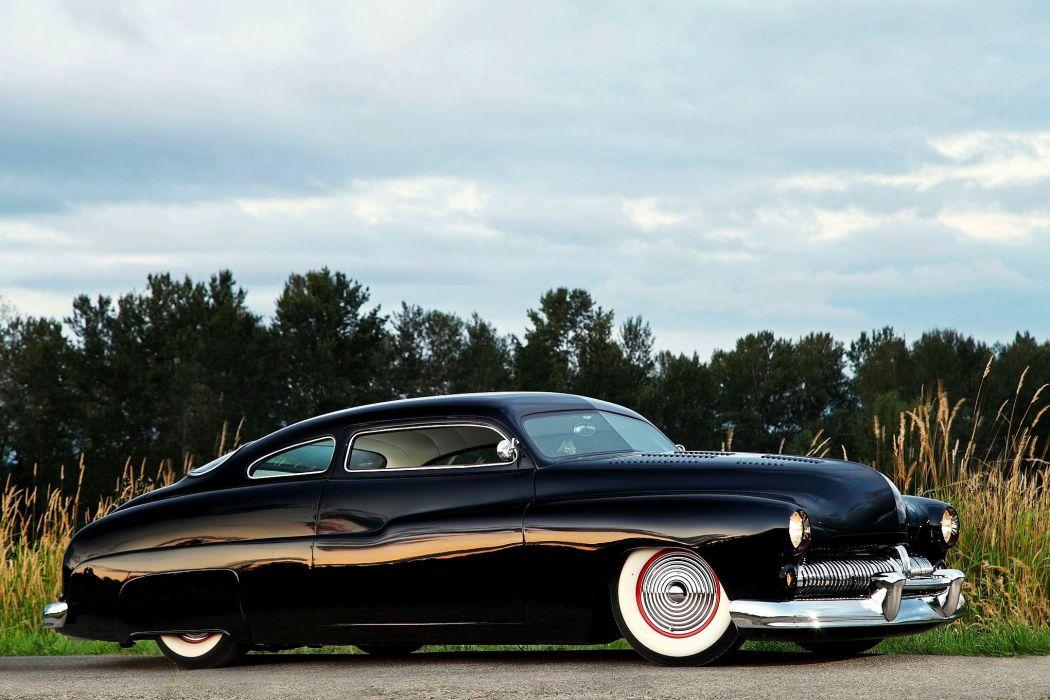 1950 Mercury CoupeHotrod Hot Rod Custom Kustom Old School Black Low Chopped USA -01 wallpaper