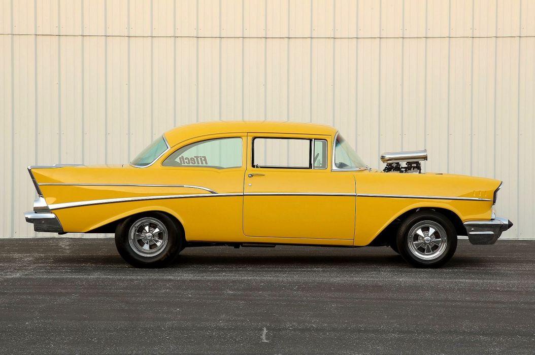 1957 Chevrolet Chevy Belair Bel Air 210 Pro Street Super Drag USA -02 wallpaper