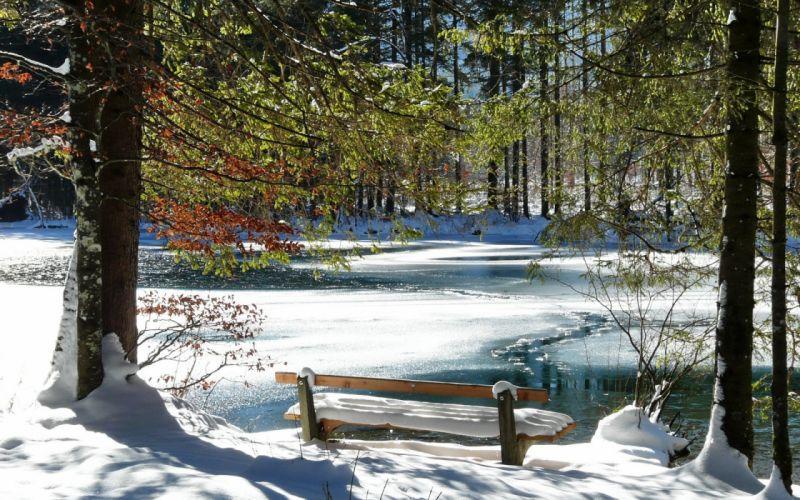 Bench Spring Coast Lake Ice Thawing Snow Trees wallpaper