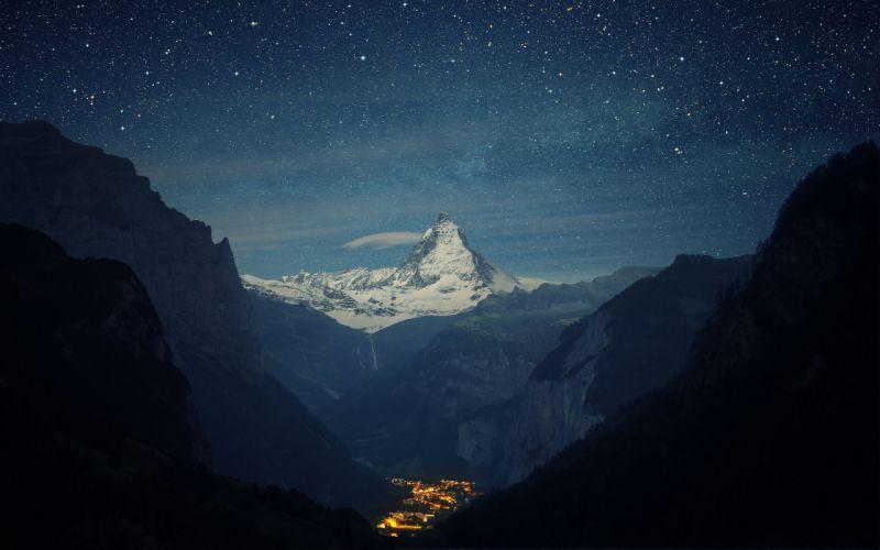 Switzerland Alps Mountains Night Beautiful wallpaper