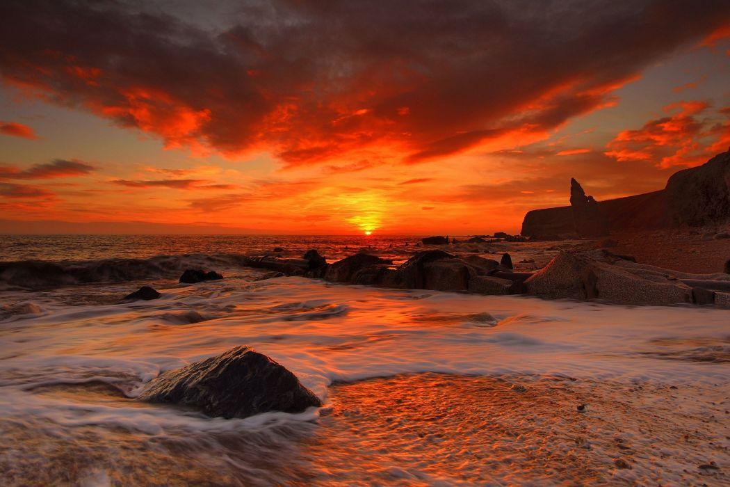Sea Waves Rocks Beach Sunrise wallpaper