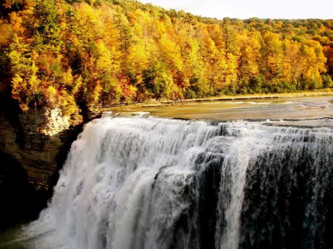 Fall Waterfall Forest Nature wallpaper