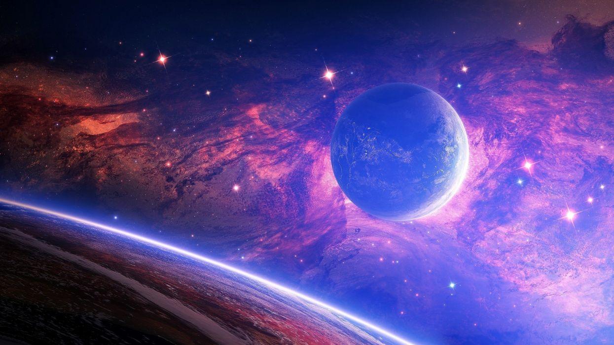 Planet Light Spots Space wallpaper