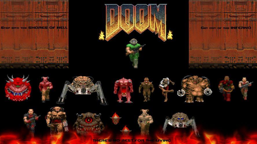 DOOM sci-fi fps shooter action fighting warrior series survival horror dark 1doom futuristic artwork evil monster creature poster wallpaper