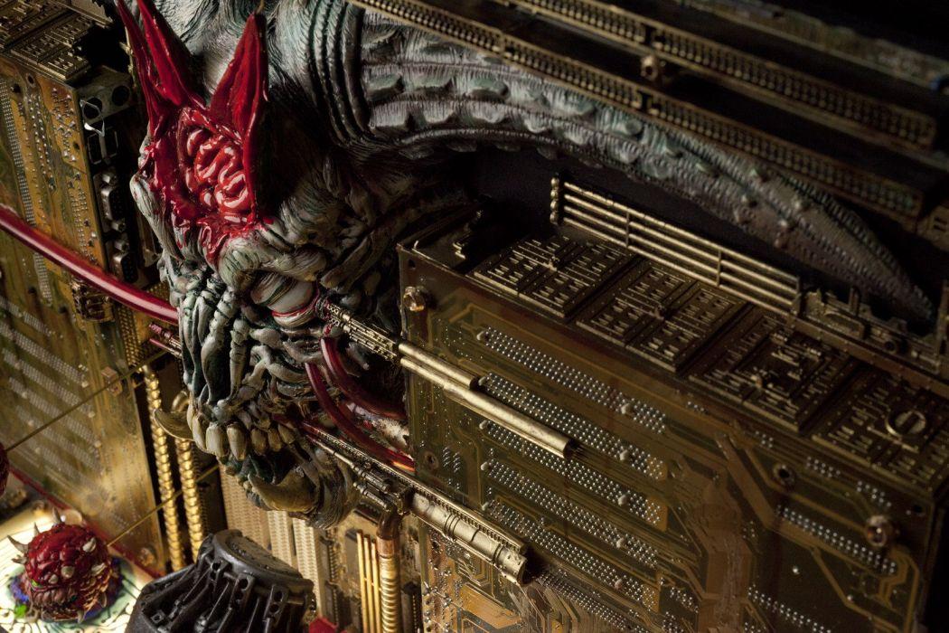 DOOM sci-fi fps shooter action fighting warrior series survival horror dark 1doom futuristic artwork evil monster creature skull wallpaper