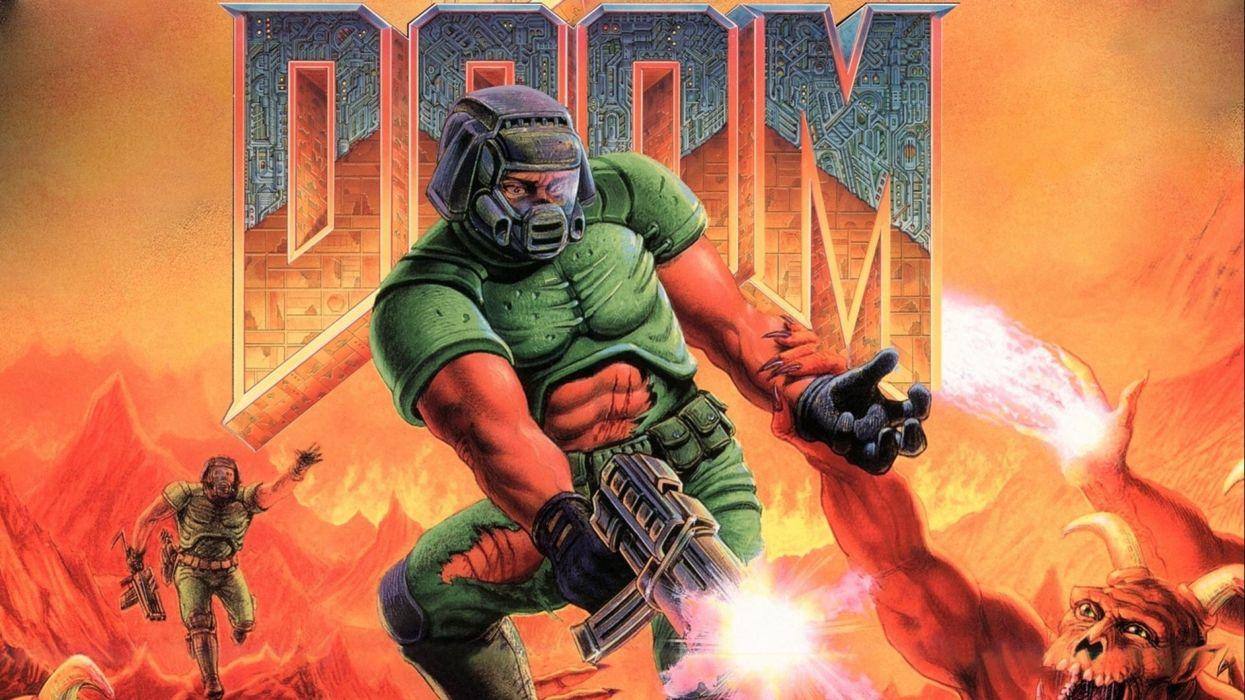 DOOM sci-fi fps shooter action fighting warrior series survival horror dark 1doom futuristic artwork evil poster wallpaper