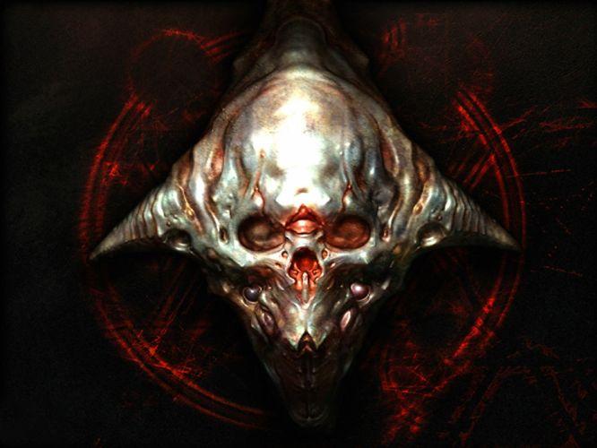 DOOM sci-fi fps shooter action fighting warrior series survival horror dark 1doom futuristic artwork evil monster demon skull wallpaper