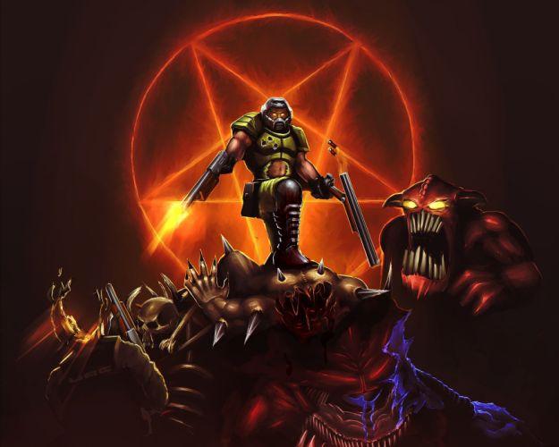DOOM sci-fi fps shooter action fighting warrior series survival horror dark 1doom futuristic artwork evil monster creature wallpaper