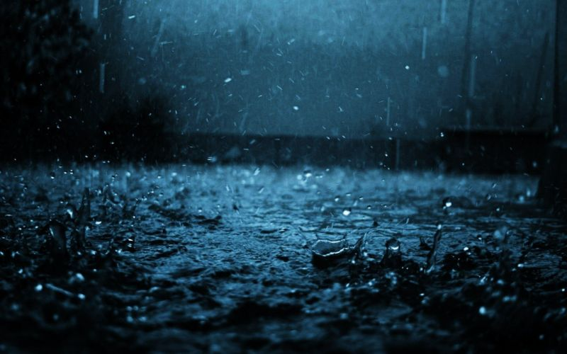 Close-up Drop Black Blue Rain wallpaper