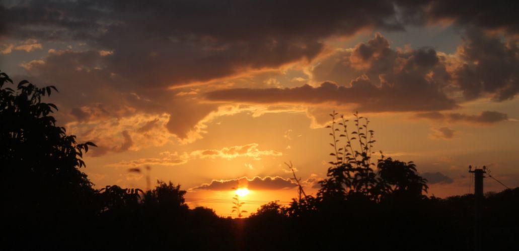 sunset sun sky clouds sunlight rays evening nature trees wallpaper