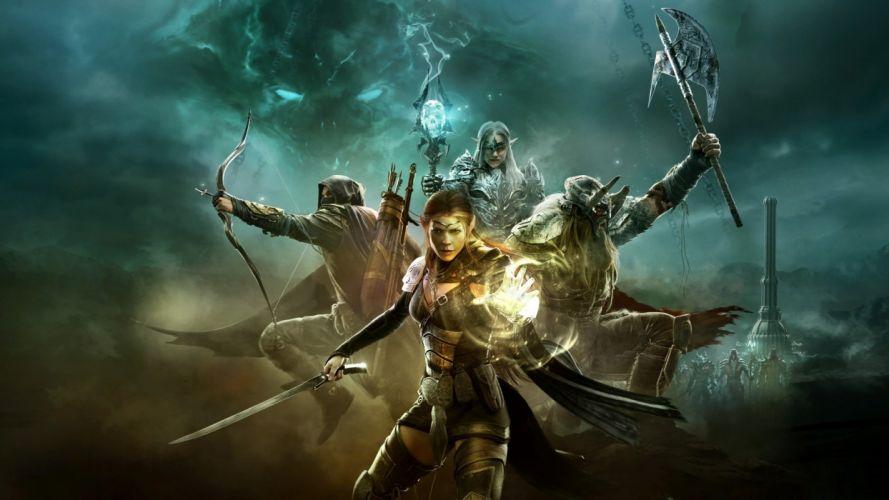 ELDER SCROLLS fantasy action rpg fighting mmo online skyrim f wallpaper