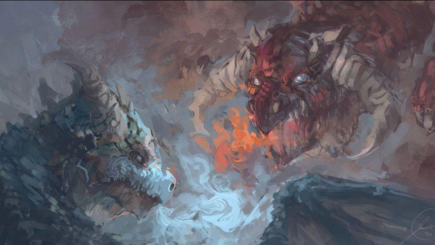 fantasy artwork art monster creature dragon f wallpaper