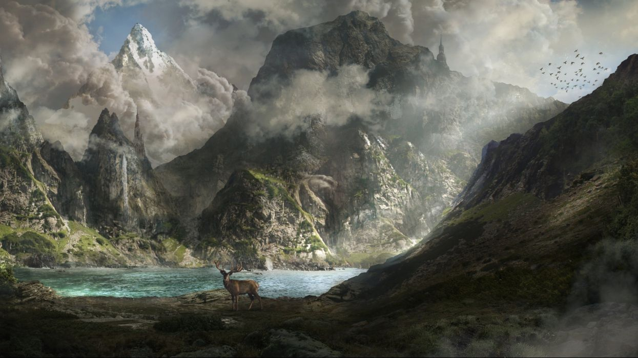 fantasy artwork art landscape nature deer river lake waterfall g wallpaper