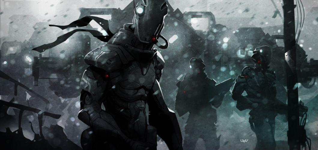 sci-fi artwork art robot warrior df wallpaper