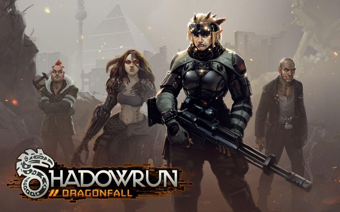SHADOWRUN cyberpunk sci-fi fantasy mmo rpg online action fighting warrior 1shadowr futuristic poster wallpaper