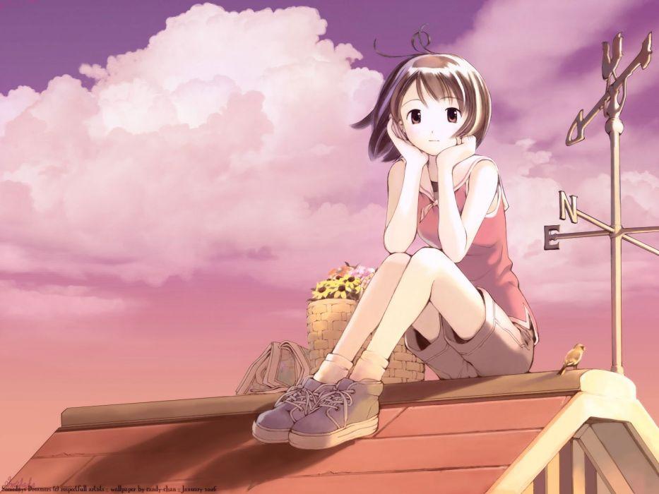 Anime Girl Alone Cute Sky Clouds Wallpaper 1600x1200 733296
