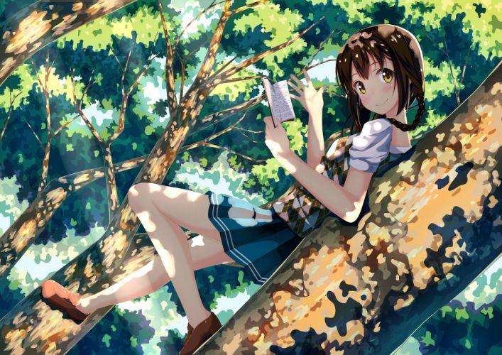 anime girl tree book smile cute wallpaper