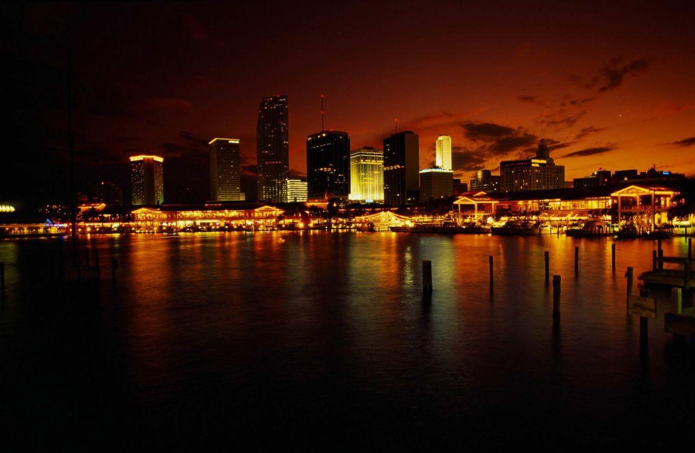 night sea city light sky beauty wallpaper