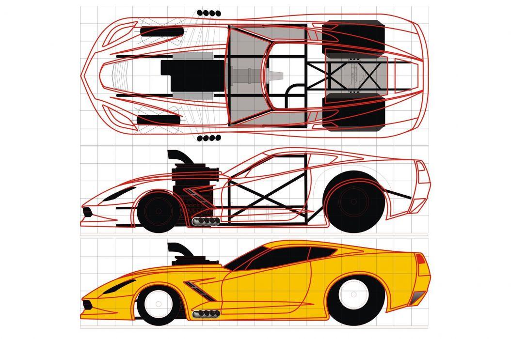 2015 Chevrolet Corvette C7 Drawing Chassi USA Drag Race -01 wallpaper