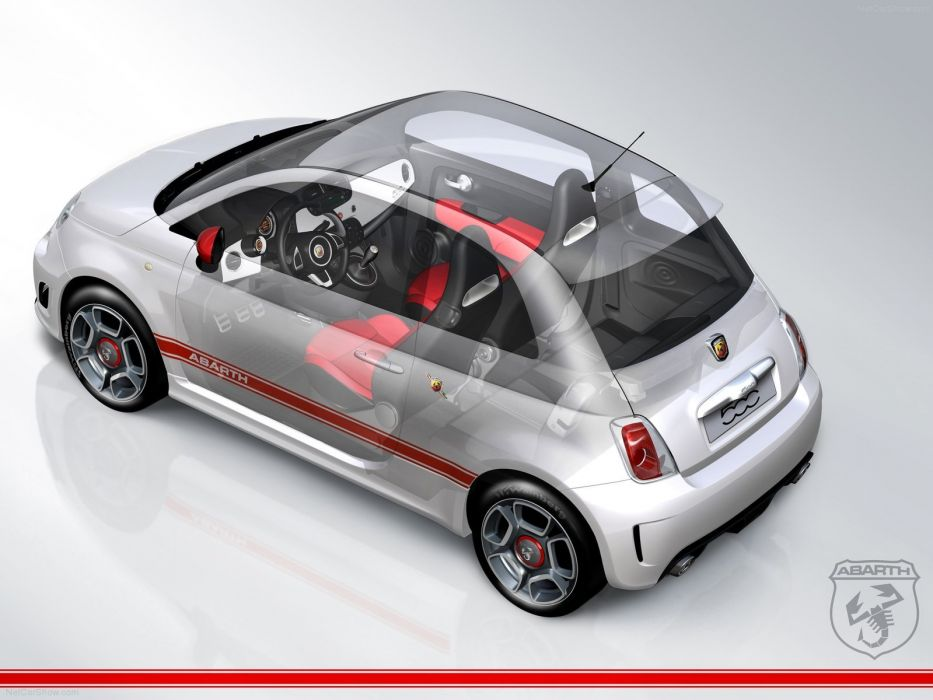 Fiat 500 Abarth cars 2009 cutaway wallpaper