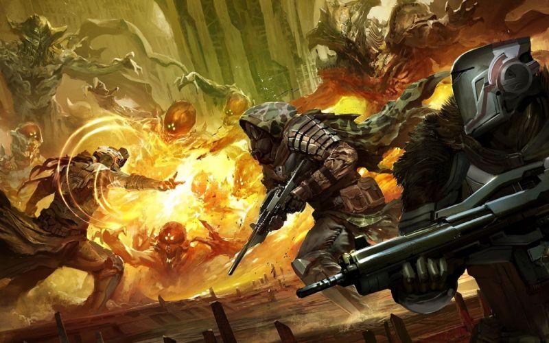 DESTINY sci-fi futuristic mmo rpg artwork action fighting warrior fps shooter wallpaper