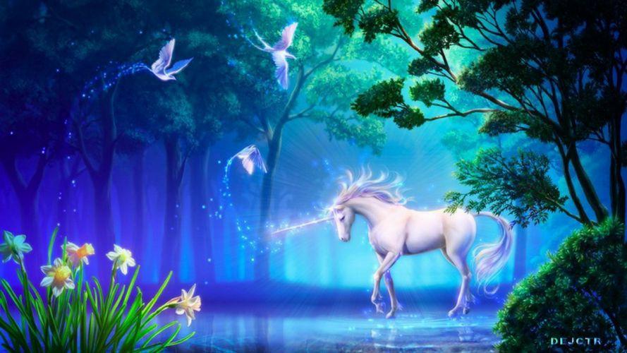 ave fenix unicornio bosque fantasia wallpaper