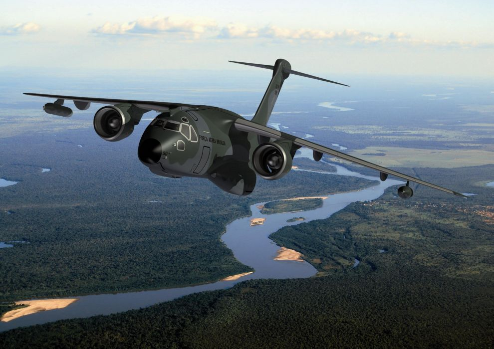 EMBRAER airliner aircraft airplane transport jet military wallpaper