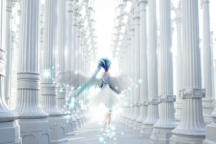 angel blue hair hatsune miku long hair tagme (artist) twintails vocaloid wings wallpaper