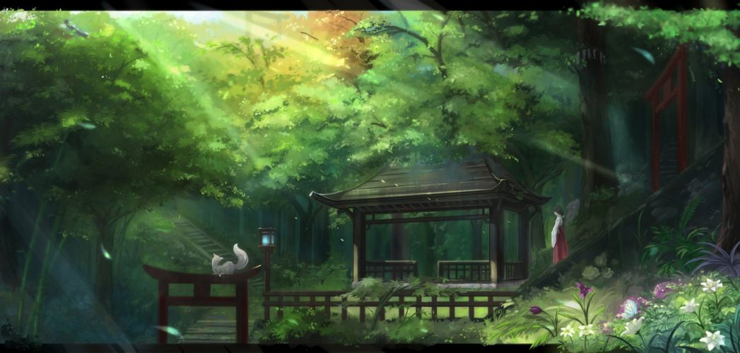 animal black hair butterfly flowers forest fox japanese clothes kikivi long hair miko original ponytail scenic shrine torii tree wallpaper