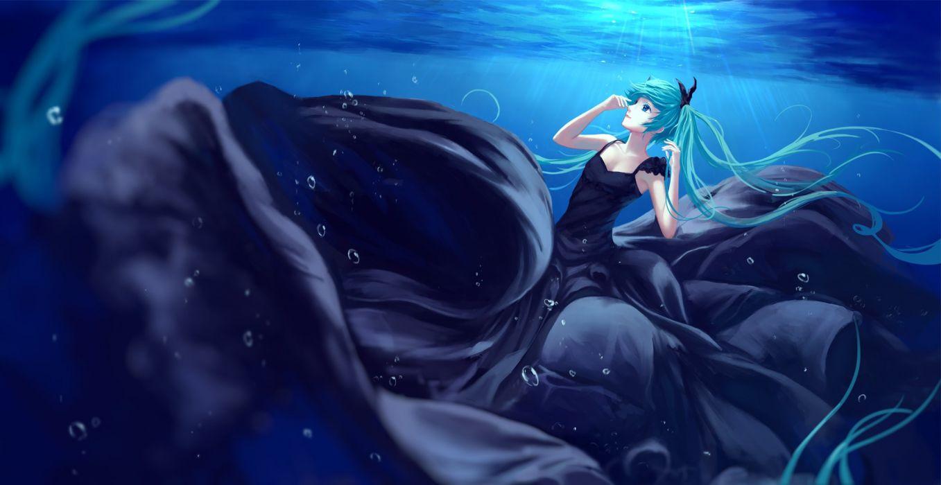 aqua eyes aqua hair blue bubbles deep-sea girl (vocaloid) dress hatsune miku jpeg artifacts long hair sombernight twintails underwater vocaloid water wallpaper