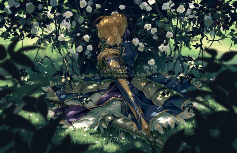 armor blonde hair dress fate stay night flowers grass leaves saber seeker sleeping sword weapon wallpaper