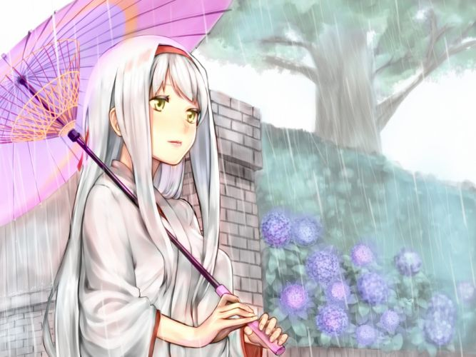 baffu flowers headband japanese clothes kantai collection kimono long hair rain shoukaku (kancolle) tree umbrella water white hair yellow eyes wallpaper